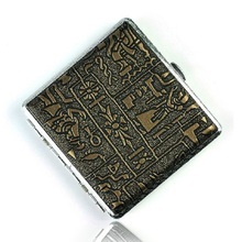 portable male personalized leather cigarette case metal box