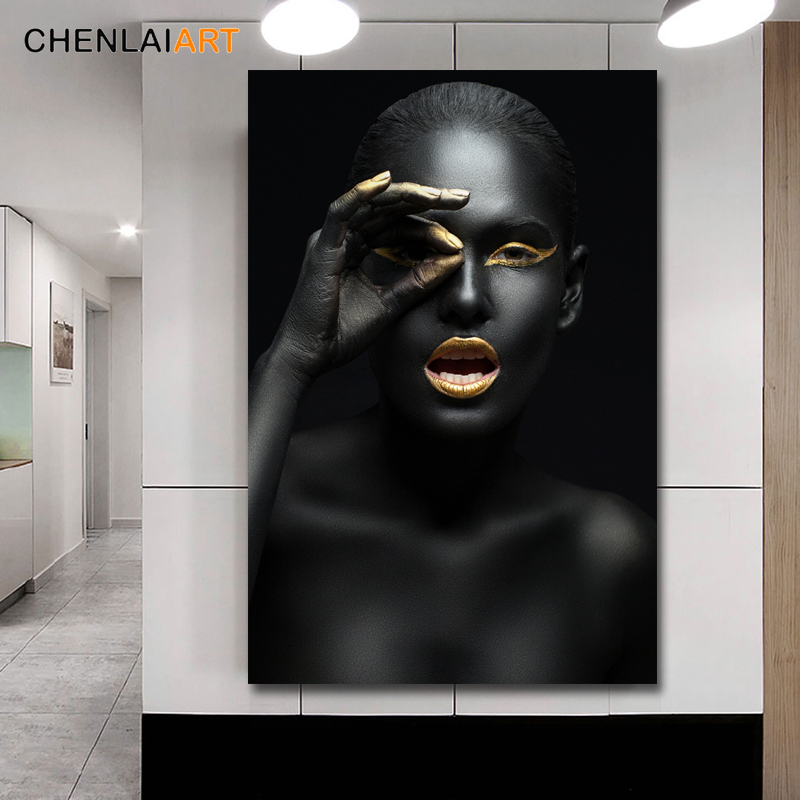 Canvas Prints Painting Modern Black Woman Model Wall Art Poster And Prints Pictures Home Decoration For Living Room No Frame