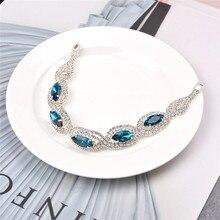 BOAKO Luxury Crystal Bracelets For Women Silver Zircon Bracelet Blue Bangles Femme Bridal Wedding Jewelry pulseira R35