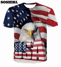 SOSHIRL USA Eagle Print T Shirts Animal Tops Summer 3D T Shirt Magazine Hip Hop Street Wear Homme  Tshirt Clothes Newest Tee