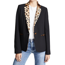 18824ed610bc Autumn Women Black Contrasted Leopard Notched Lapel Blazer Jackets Office Ladies  Long Sleeve Fall Coats Single