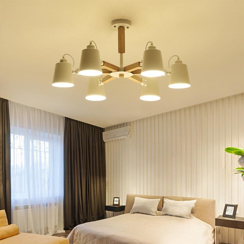 Candelabro de dirección LED nórdico simple de madera E27 220 V, candelabro de hierro de dos colores blanco y negro para comedor, sala de estar y dormitorio