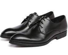 Новые черные мужские ботинки платья натуральная кожа острым носом мужчина бизнес обувь мода мужская формальная обувь свадебные