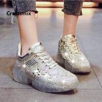 Cresfimix women fashion silver shining height increased flat platform shoes lady casual golden shoes zapatos de mujer a5006