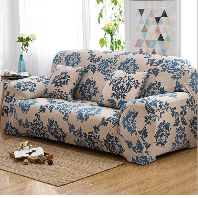 Printed sofa cover universal shaped flower protector for Universal sectional sofa slipcovers
