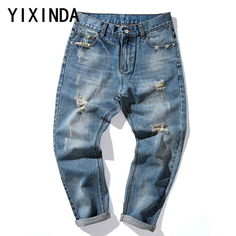 YIXINDA Punk Style Brand Mens Jeans Distressed Hole Multi Fake Zippers Patchwork Denim Jeans For Men Vintage Blue Embroidery