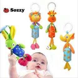 Sozzy 27 см детская погремушка набитые колокольчики плюшевая кукла игрушка кровать висячий Писк игрушки младенческой олень кролик рука куколь...