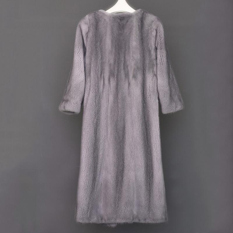 LVCHI Yeni stil bayanlar moda vizon palto Hakiki Deri Vizon Kürk - Bayan Giyimi - Fotoğraf 4