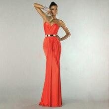 Vintage Orange Satin Mermaid Formale Kleider Einfache Goldenen Schärpen Lange Abendkleider Vestidos de Noite