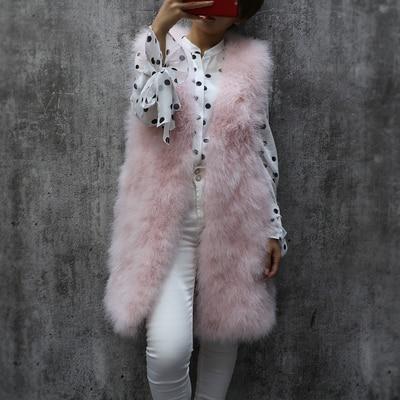 Длинный Меховой жилет из турецких перьев, осенний и зимний женский тонкий однотонный жилет без рукавов с v-образным вырезом, женский жилет из страусиных перьев - Цвет: as picture