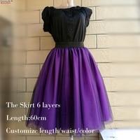 Tím Tulle Váy Womens Mix Đen Bóng Gown Empire Voile Ren lưới Mùa Xuân Dành Cho Người Lớn Custom Made 6 Layers Gái Tulle Femme Váy