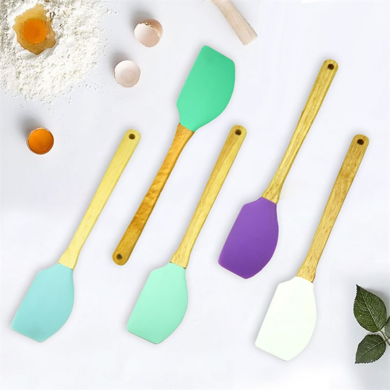 US $3.12 30% OFF|QueenTime Silicone Spatula With Wooden Handle Heat  resistant Cream Scraper Non stick Butter Spreader Colorful Kitchen  Utensils-in ...