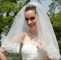 Short Cheap In Stock Fashion Free Shipping Lace Sequins Wedding Accessories Bridal Veil Ivory White Hot