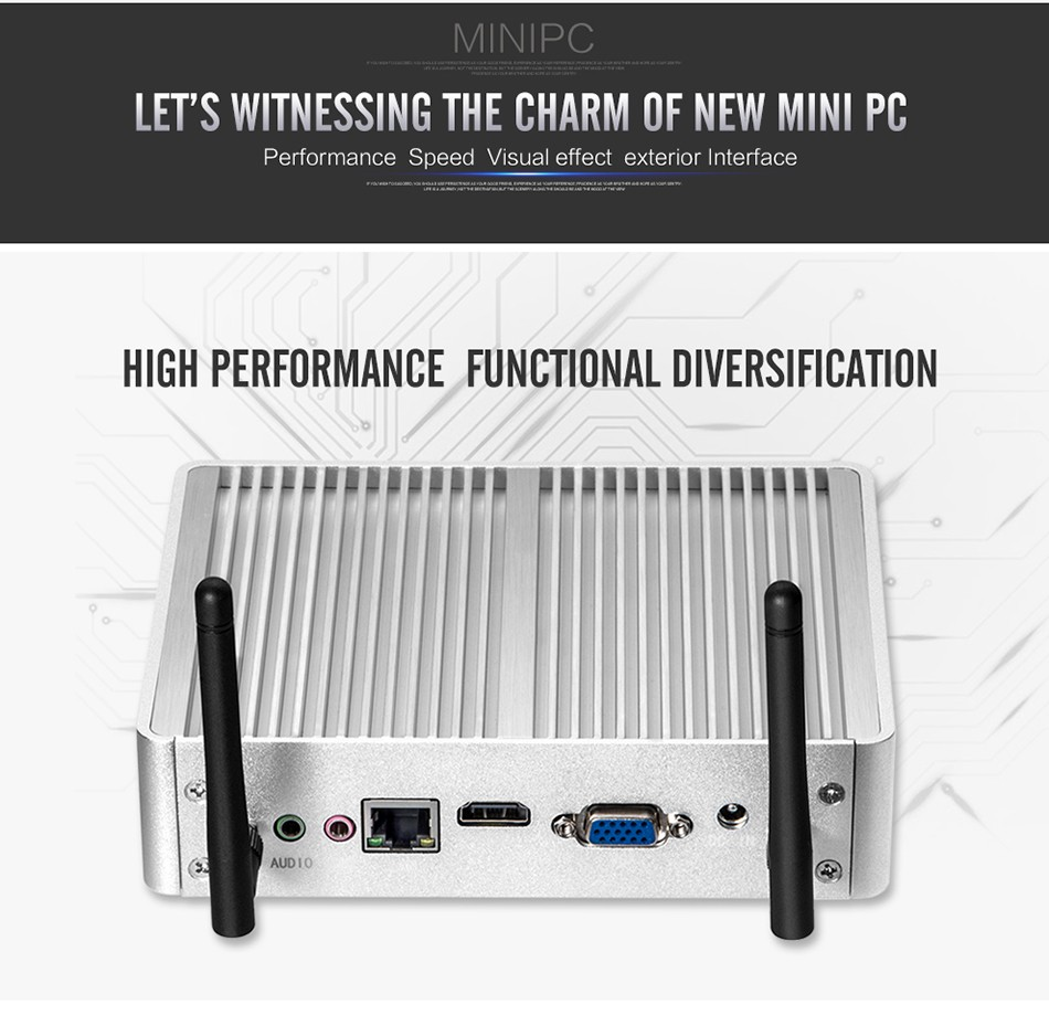 Fanless Mini PC for Windows with Dual Output Display and WiFi 9