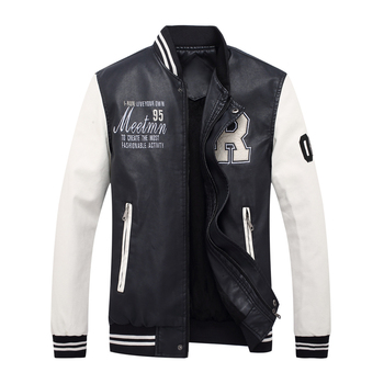 Vomint New Mens PU Jacket Baseball Suit Fashion Embroidered Letter Leather Jacket Male Preppy Chic Style 3XL 4XL