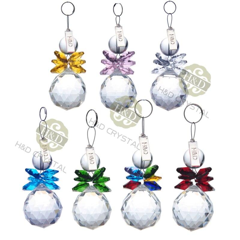 H&D 7pcs Clear Crystal Ball Pendant Hanging Suncatcher Handcrafts Christmas Glass OrnamentsH&D 7pcs Clear Crystal Ball Pendant Hanging Suncatcher Handcrafts Christmas Glass Ornaments