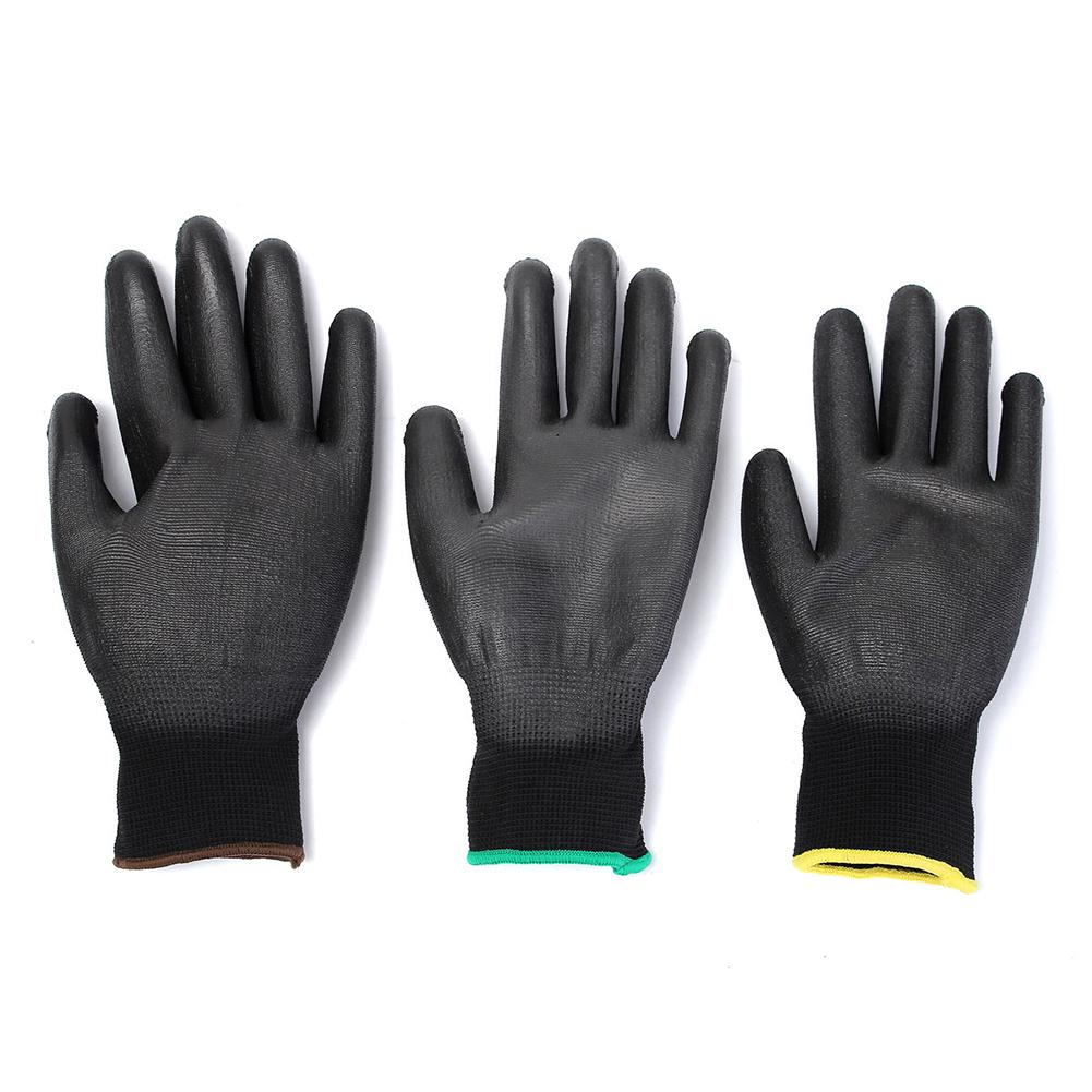 12pairs PU Coated Work Gloves Black Green Nylon Knitted Work Gloves Builders Grips S/M/L Size For Palm Protection12pairs PU Coated Work Gloves Black Green Nylon Knitted Work Gloves Builders Grips S/M/L Size For Palm Protection