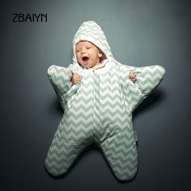 New Brand Baby Sleeping Bag Starfish Newborn Sleepsacks 100% Cotton Blanket Winter Bedding Warm Baby Carriage Sleep Sack Swaddle