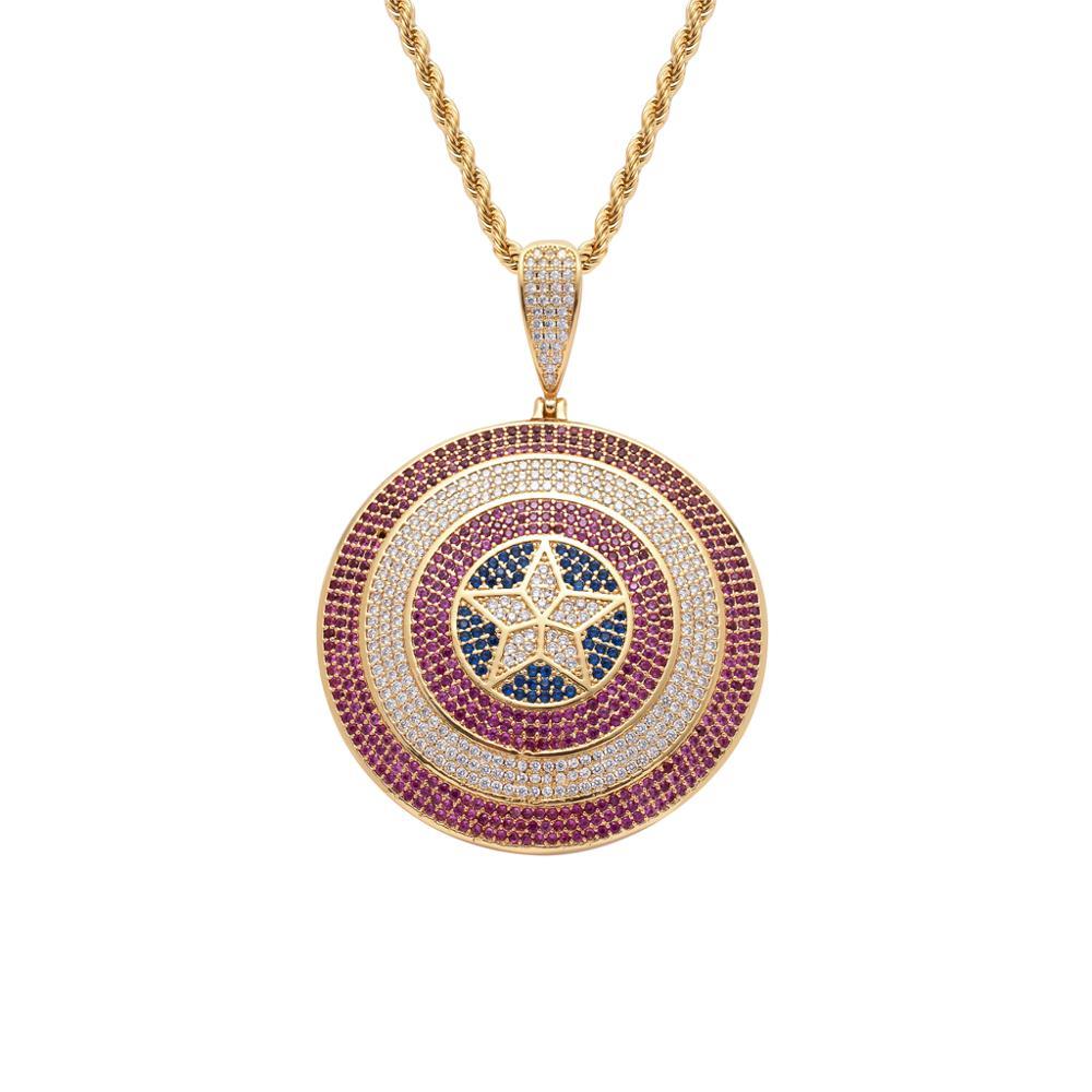 Hiphop Cool les Avengers Super Star Captain America bouclier pendentif hommes glacé CZ pierre pendentif collier inspiré bijoux de film