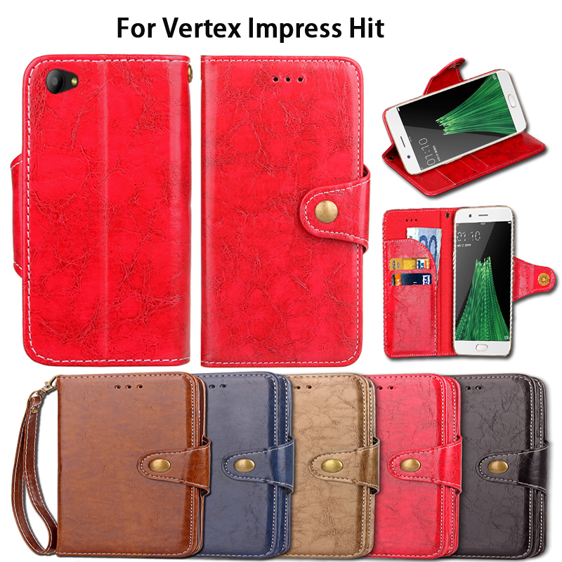 Luxury Flip Case For Vertex Impress hit Case Cover Vintage PU Leather Wallet Shell Fundas CoqueWith Lanyard