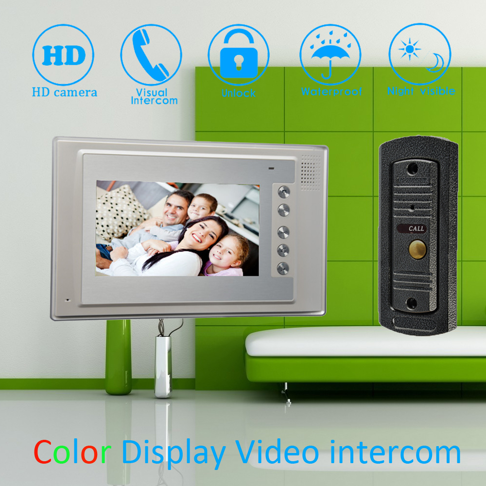 Smart Home Use 1 To 1 Video Door Phone Smart Home System Video Intercom Waterproof Camera 7 Inch Color Monitor Free Shipping
