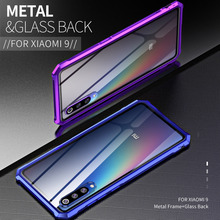 Luxury Metal Bumper for Xiaomi Mi 9 Mi9 case side Tempered Glass back cover for Xiaomi Mi 8 explorer case Aluminum frame mi8 все цены