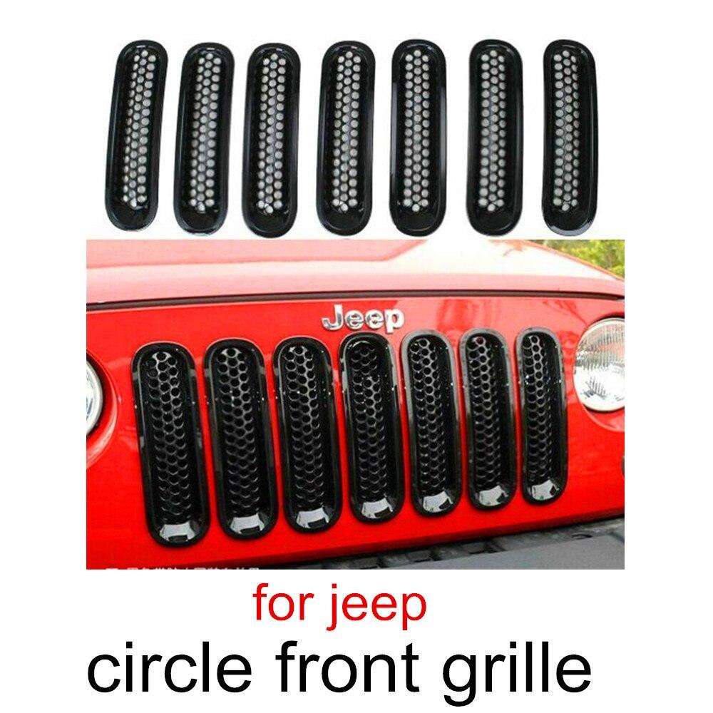 Meilleure vente un ensemble 7 pièces Grille Decprative Cercle calandre Noir Couverture De Maille pour jeep wrangler JK Rubicon07-15 sans trou de serrure