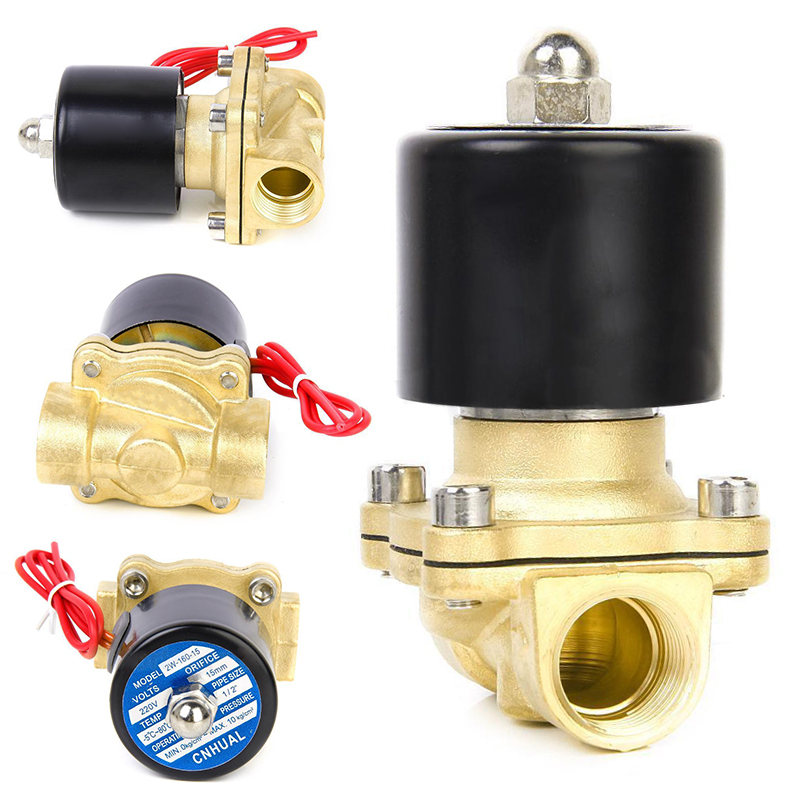 Brass 220V AC 1/2 Electric Solenoid Valve for Water Air Fuels Gas Normal Closed 1/2 Inch Valves Solenoid Valves 18w copper plastic 1 2 electric actuator solenoid valve black golden ac 220v