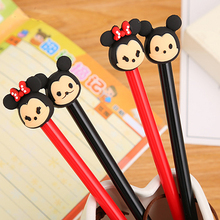 1pc Kawaii Gel Pens Mickey Pennen Cartoon Silicone Head In The Ball School Office Supplies Student Stationery Black Ink 0.5 Mm