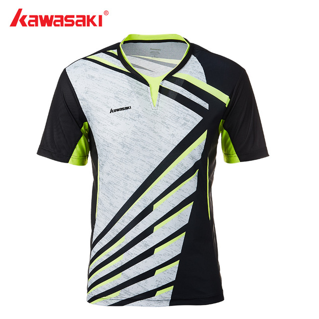 Genuine Kawasaki Men T-shirt V Neck Short Sleeves Badminton Shirts Tennis T Shirt For Male Outdoor Sports Sportswear ST-T1013