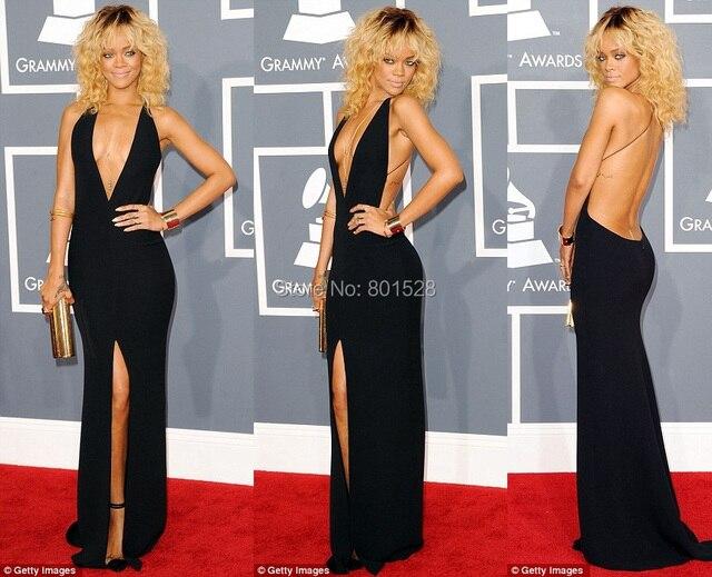 Black Rihanna Dresses Grammy Halter Open Back Front Slit Sexy Deep V Neckline Black Celebrity Dresses Long Party Dress