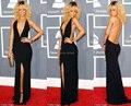 Vestidos Grammy Rihanna preto Halter aberto frente de fenda Sexy decote V vestidos de festa vestido longo celebridade
