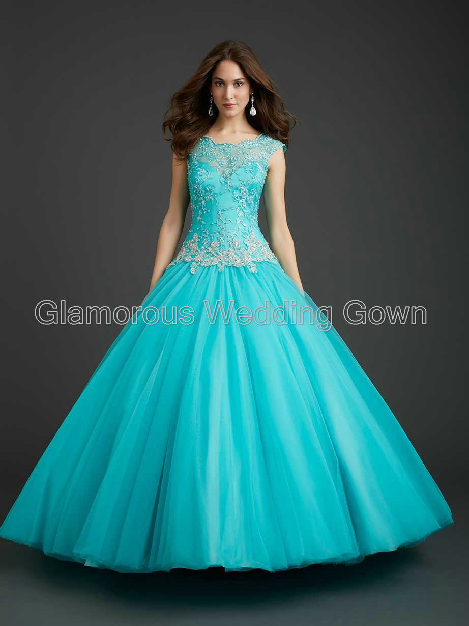 Princess Ball Gown Sheer Straps Quinceanera Dresses Appliques Scoop ...