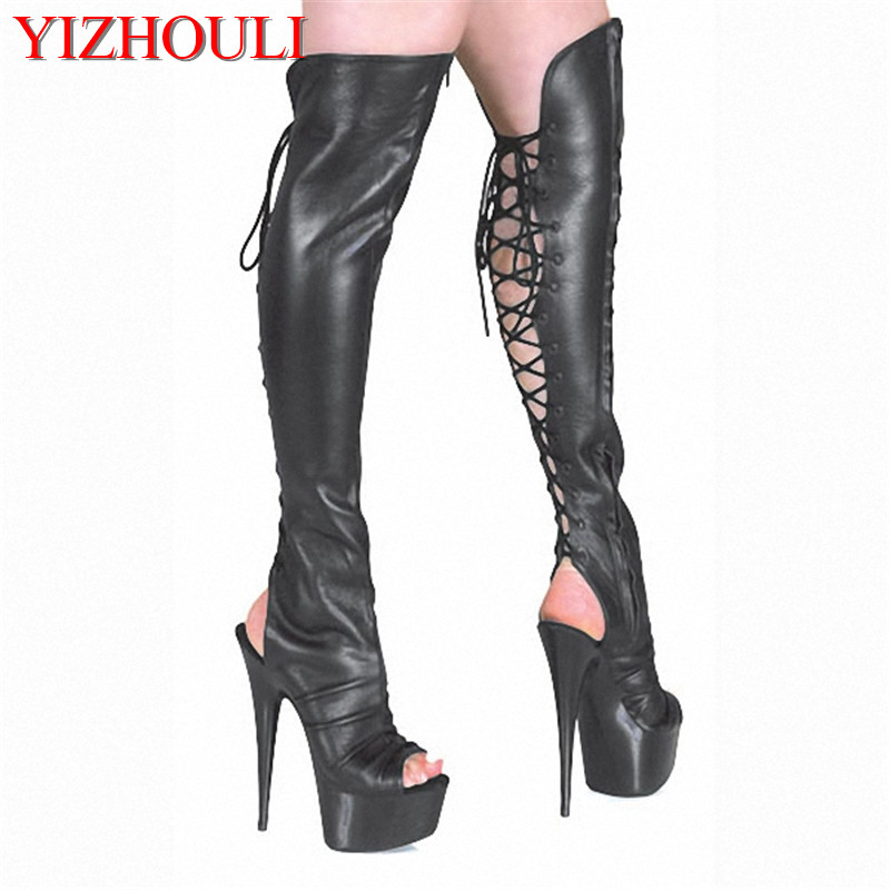15cm High-Heeled Shoes Cutout Over-The-Knee Womens Boots Back Strap Open Toe Sandals 6 Inch Heels Thigh High Boots Free Postage