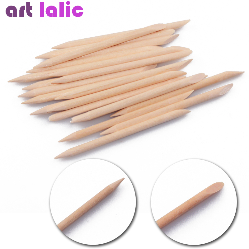 20PCS Nail Art Orange Wood Stick Cuticle Pusher Remover Pedicure Manicure Tool Double Ended Orange Weed Stick For Manicure Nail