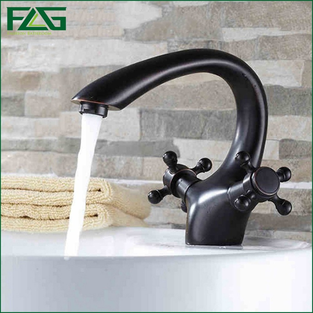 FLG Basin Faucet Oil Rubbed Bronze Sink Faucet Cold & Hot Touch Faucet Sink Tap Double Handle Bath Sink Faucet Water Mixer M004 free shipping bathroom vanity sink faucet oil rubbed bronze washing basin sink taps with hot and cold water tap crane