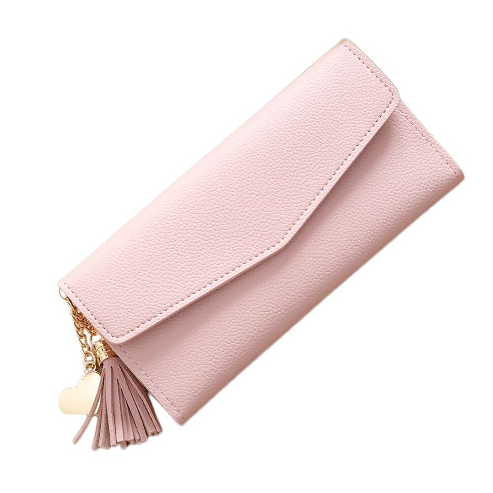 Fashion Women Faux Leather Long Wallet Card Slot Tassel Heart Charm Purse Clutch