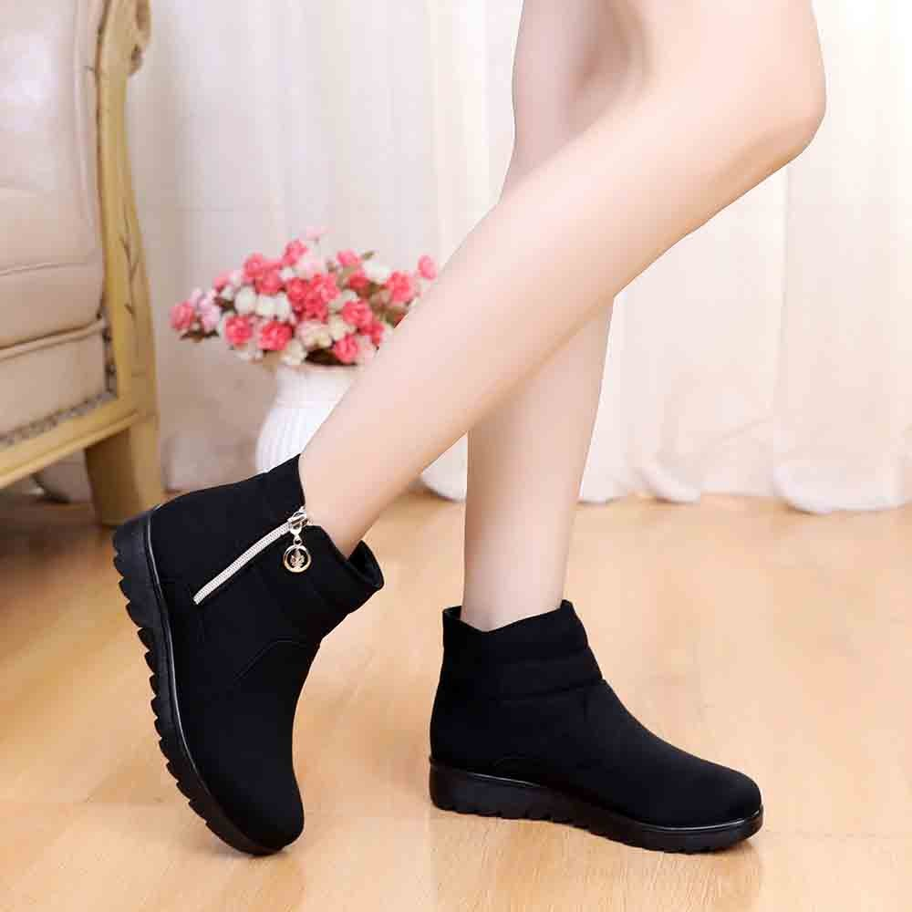 2019 Women's Winter Snow Boots Suede Short Boot Lady Warm Fur Ankle Shoes Low Heel Fashion Outdoor Skiing Botas Platforms Zipper