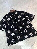 2019 spring and summer linen plum shirt woman short sleeve t shirt 0322