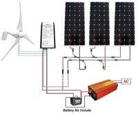 800 Вт комплект ветровой турбины: 400 вт ветровой генератор + 3*160 Вт солнечная панель + 1000 Вт Инвертор