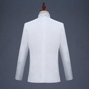 Image 4 - 18th 世紀白人男性のツーピースウエディングドレススーツレトロブルーダイヤモンド中国チュニックスーツ & ブレザー衣装 S 2XL