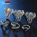 (6pcs/set) 2017 New arrival vintage Ancient silver color elephant moon turquoise Rings Statement Jewelry Accessories RPY060