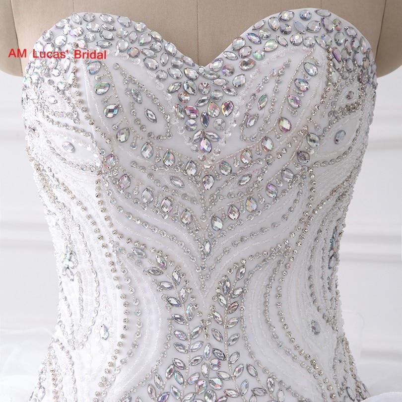 Luxus Lange Ballkleid Brautkleider Tiered Rüschen Perlen Strass ...