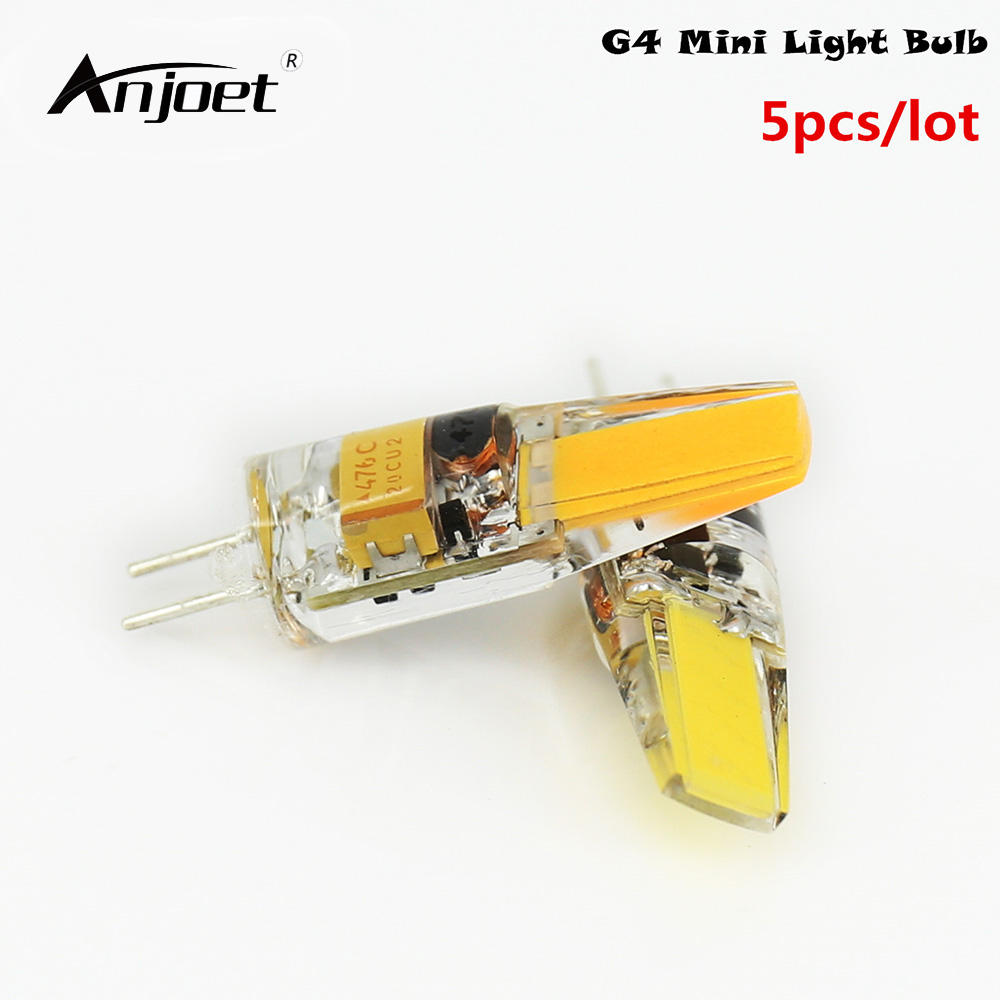ANJOET 5pcs Mini G4 LED Lamp AC/DC 12V 1505 COB Chip LED G4 Bulb LED Light 360 Beam Angle Replace Halogen Lamp For Chandelier 10pcs g4 led lamp ac dc 12v 220v mini lampada led bulb g4 1505 cob chip light 360 beam angle lights replace 30w halogen
