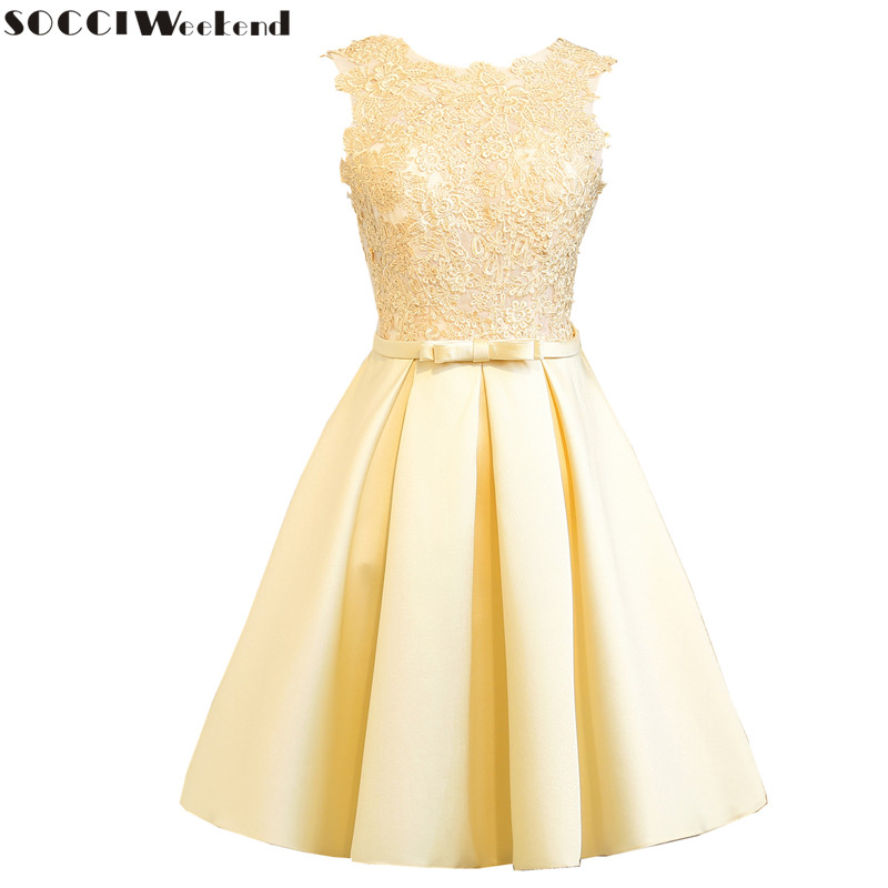 SOCCI Weekend Light Gold Cocktail Dress 2019 Women Dresses Tulle Lace Formal Wedding Party Gowns Sleeveless Above Knee Robe De