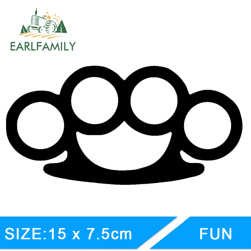 EARLFAMILY 15cm X 7.5cm Brass Knuckles V1 Sticker Decal JDM FCK ILL Vinyl Truck Vehicle Body Accessories Waterproof Car Stickers