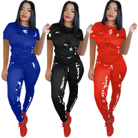 Sexy tracksuit women Summer two piece set short Tops and Long Trousers