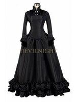Черный одежда с длинным рукавом готический викторианской платье