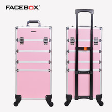 Aluminum Facebox 4 in 1 Trolley Makeup Box with Wheels Professional Beauty Box for nail artist(China)