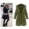 Plus size 4XL casaco longo para as mulheres do exército preto verde cintura elástica da senhora com capuz trincheira FS0163